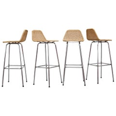 Charlotte Perriand Style Chrome and Rattan Bar Stools