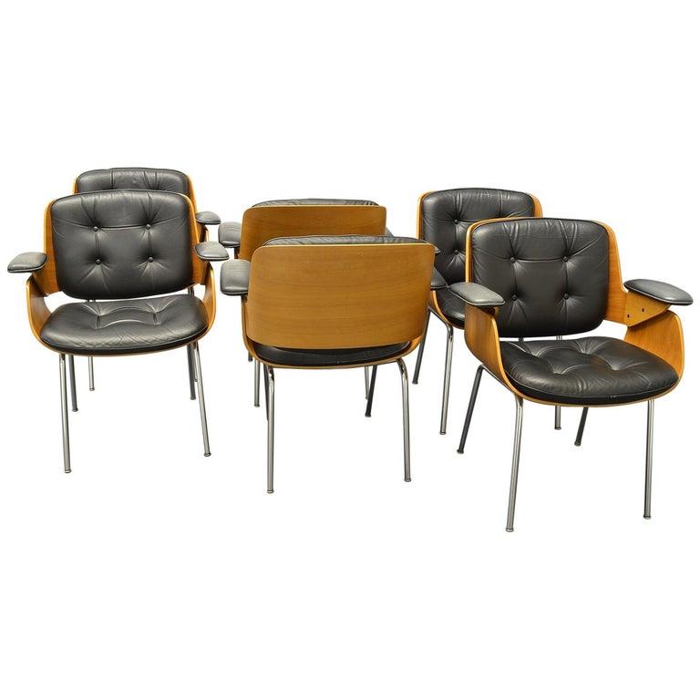 D48 Desk Chair / Conference Chair, Hans Könecke, Tecta 1960s Black Leather For Sale