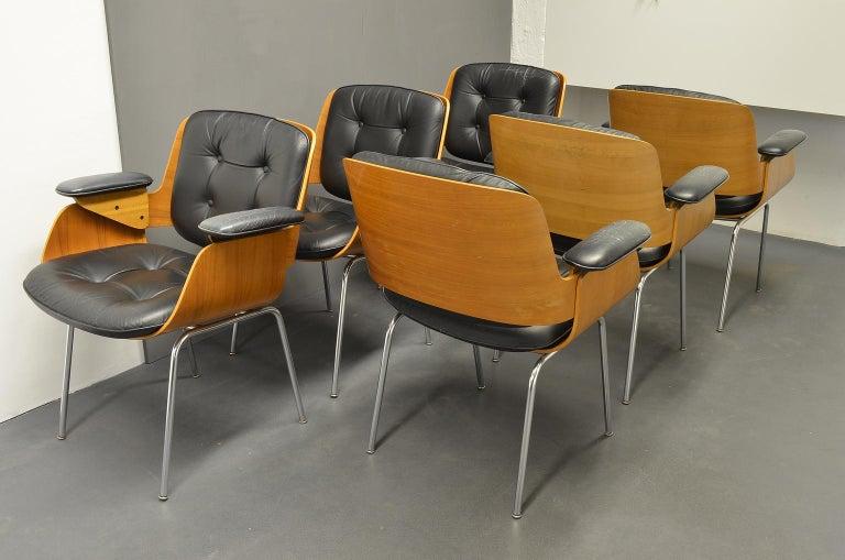 Mid-Century Modern D48 Desk Chair / Conference Chair, Hans Könecke, Tecta 1960s Black Leather For Sale