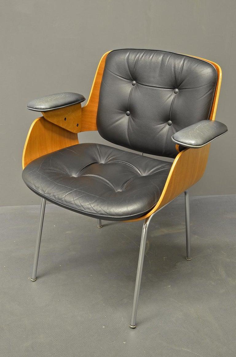 German D48 Desk Chair / Conference Chair, Hans Könecke, Tecta 1960s Black Leather For Sale