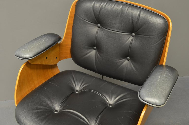D48 Desk Chair / Conference Chair, Hans Könecke, Tecta 1960s Black Leather In Good Condition For Sale In Nuernberg, Bavaria