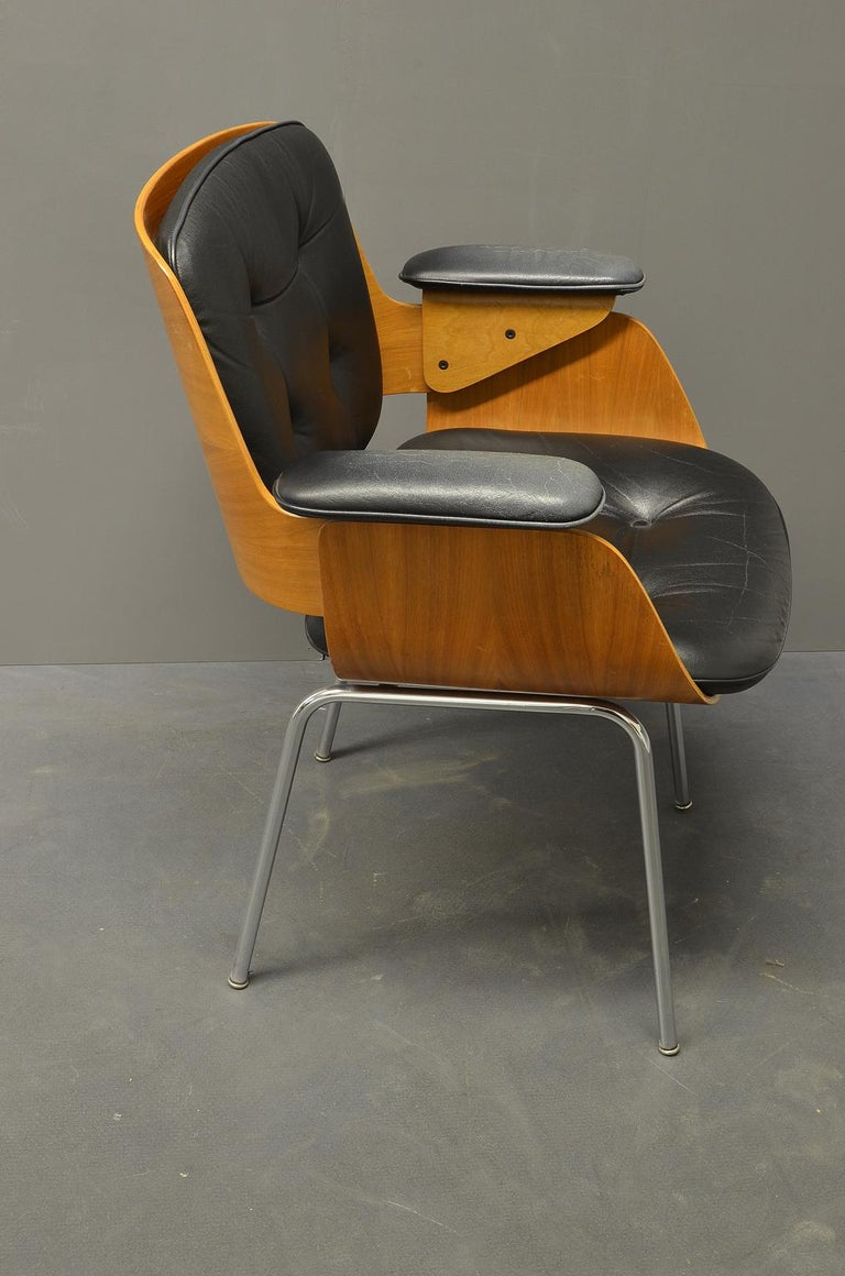 Mid-20th Century D48 Desk Chair / Conference Chair, Hans Könecke, Tecta 1960s Black Leather For Sale