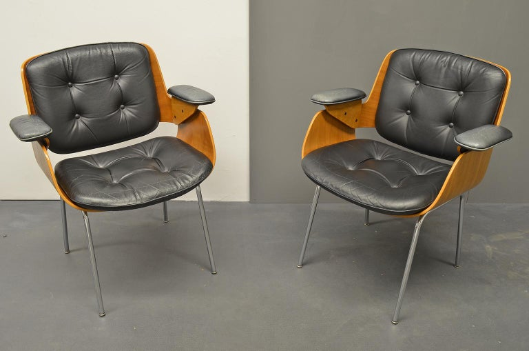 D48 Desk Chair / Conference Chair, Hans Könecke, Tecta 1960s Black Leather For Sale 1