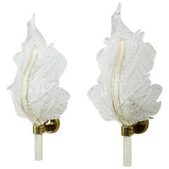 Pair of Expressive Murano Gold and Clear Barovier e Toso Leaf Wall Scones