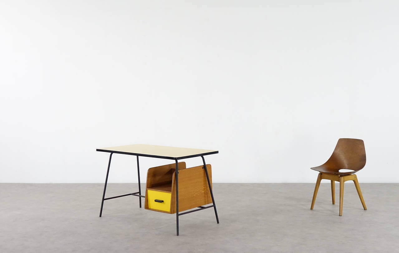 Mid-20th Century Pierre Paulin Small Yellow Formica Desk and Drawer, France 1957