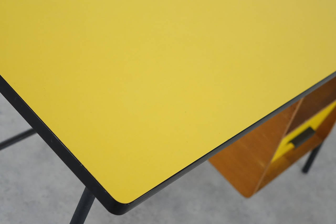 Pierre Paulin Small Yellow Formica Desk and Drawer, France 1957 1
