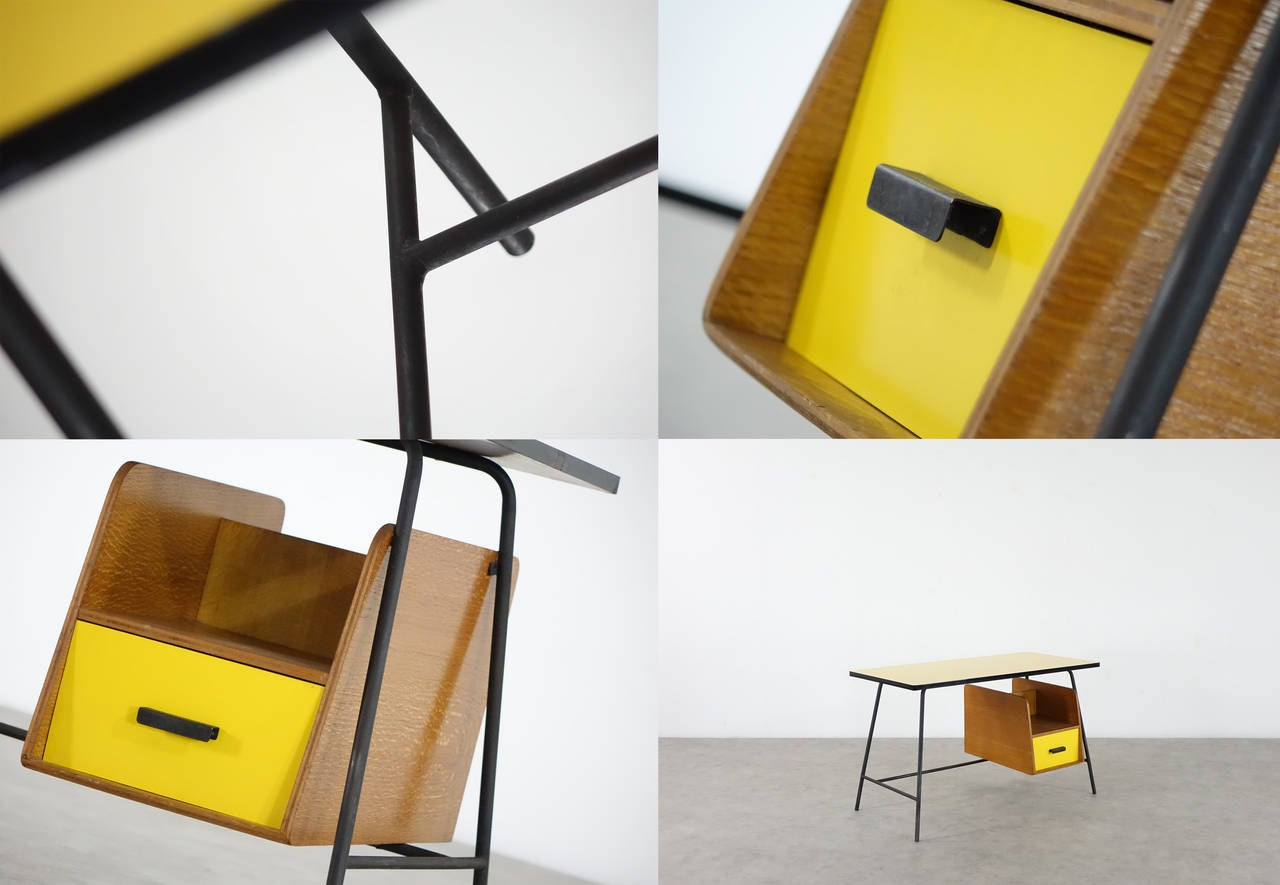 Pierre Paulin Small Yellow Formica Desk and Drawer, France 1957 2