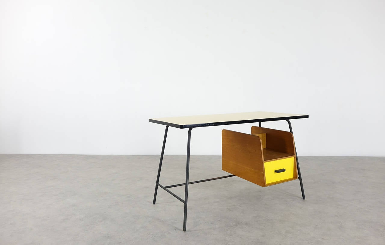 Pierre Paulin Small Yellow Formica Desk and Drawer, France 1957 3