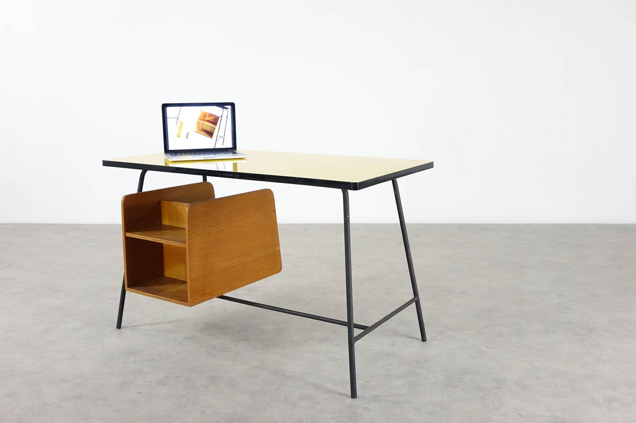 Pierre Paulin Small Yellow Formica Desk and Drawer, France 1957 4
