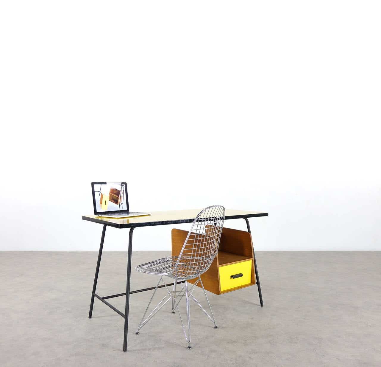 Mid-Century Modern Pierre Paulin Small Yellow Formica Desk and Drawer, France 1957