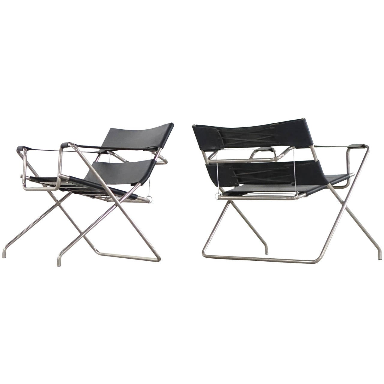 two marcel breuer d4 b4 folding chairs wassily bauhaus 1926 1927 at 1stdibs. Black Bedroom Furniture Sets. Home Design Ideas