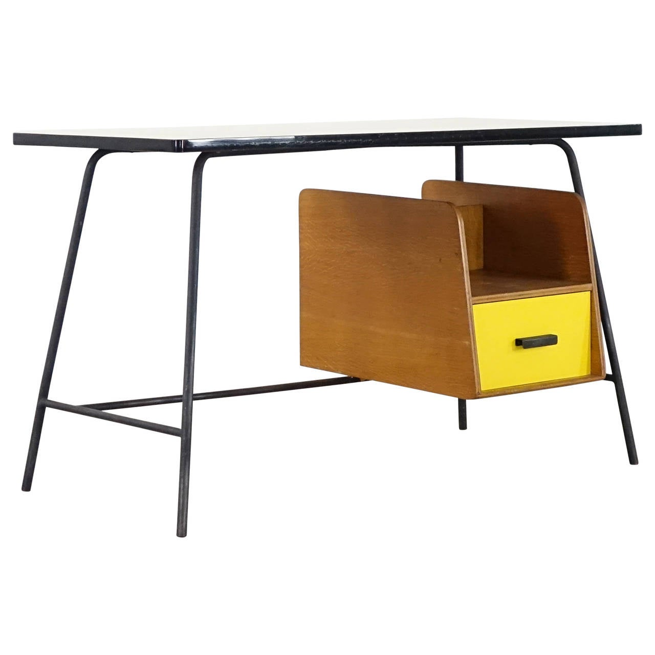 Pierre Paulin Small Yellow Formica Desk and Drawer, France 1957