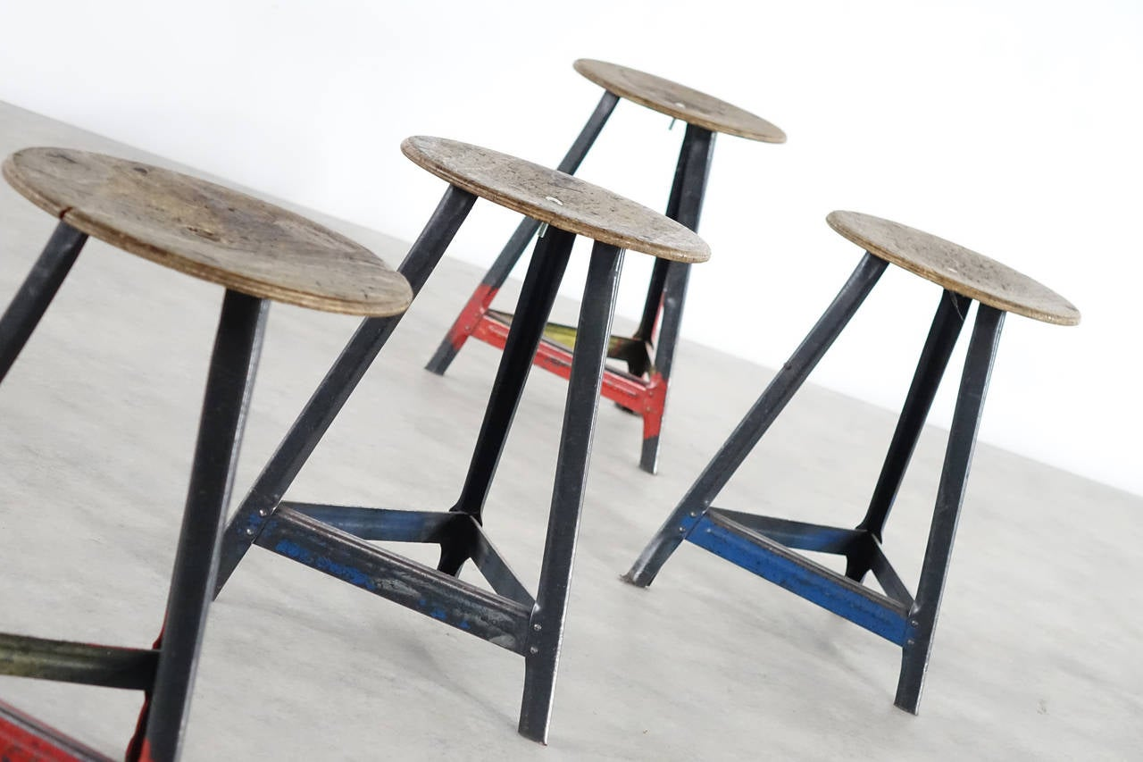 Set Of 12 Industrial Stool Bauhaus In The Style Of Rowag