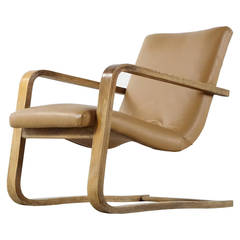Alvar Aalto Style Elm Plywood and Bentwood Cantilever Easy Chair, 1956