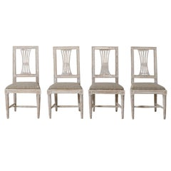 19th Century Swedish Gustavian Period Set of Four Chairs in Original Paint
