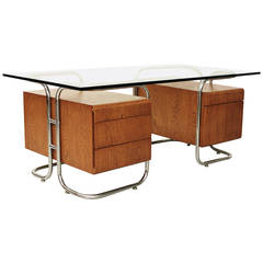 Tubular Chrome and Oak Pedestal Desk by Pace Collection