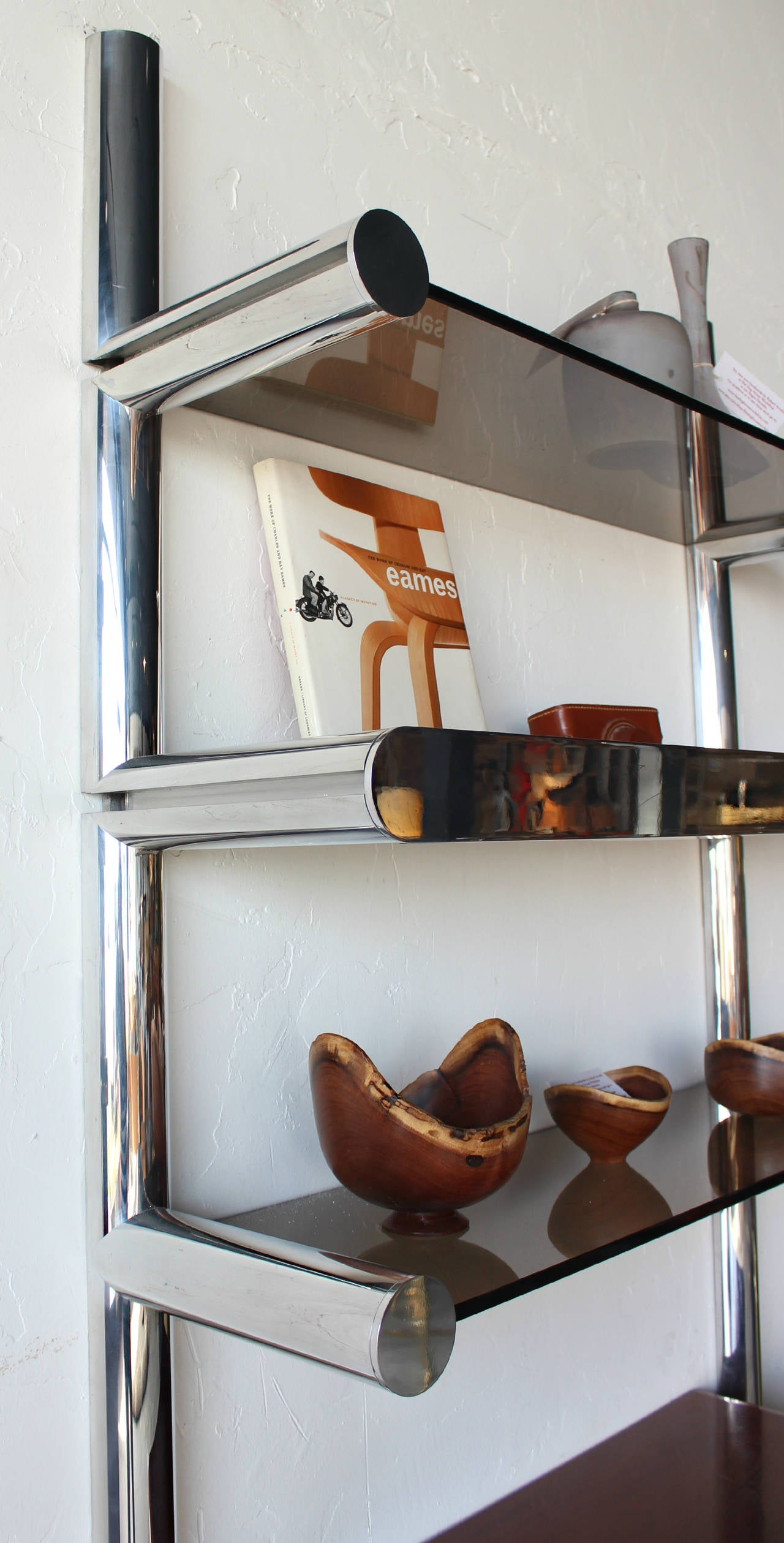 Burl and Chrome Orba Wall Unit by Janet Schwietzer for Pace ...
