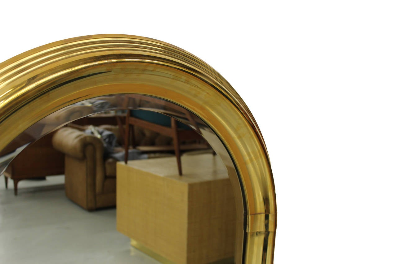 vintage art deco style arched brass mirror by labarge at 1stdibs. Black Bedroom Furniture Sets. Home Design Ideas