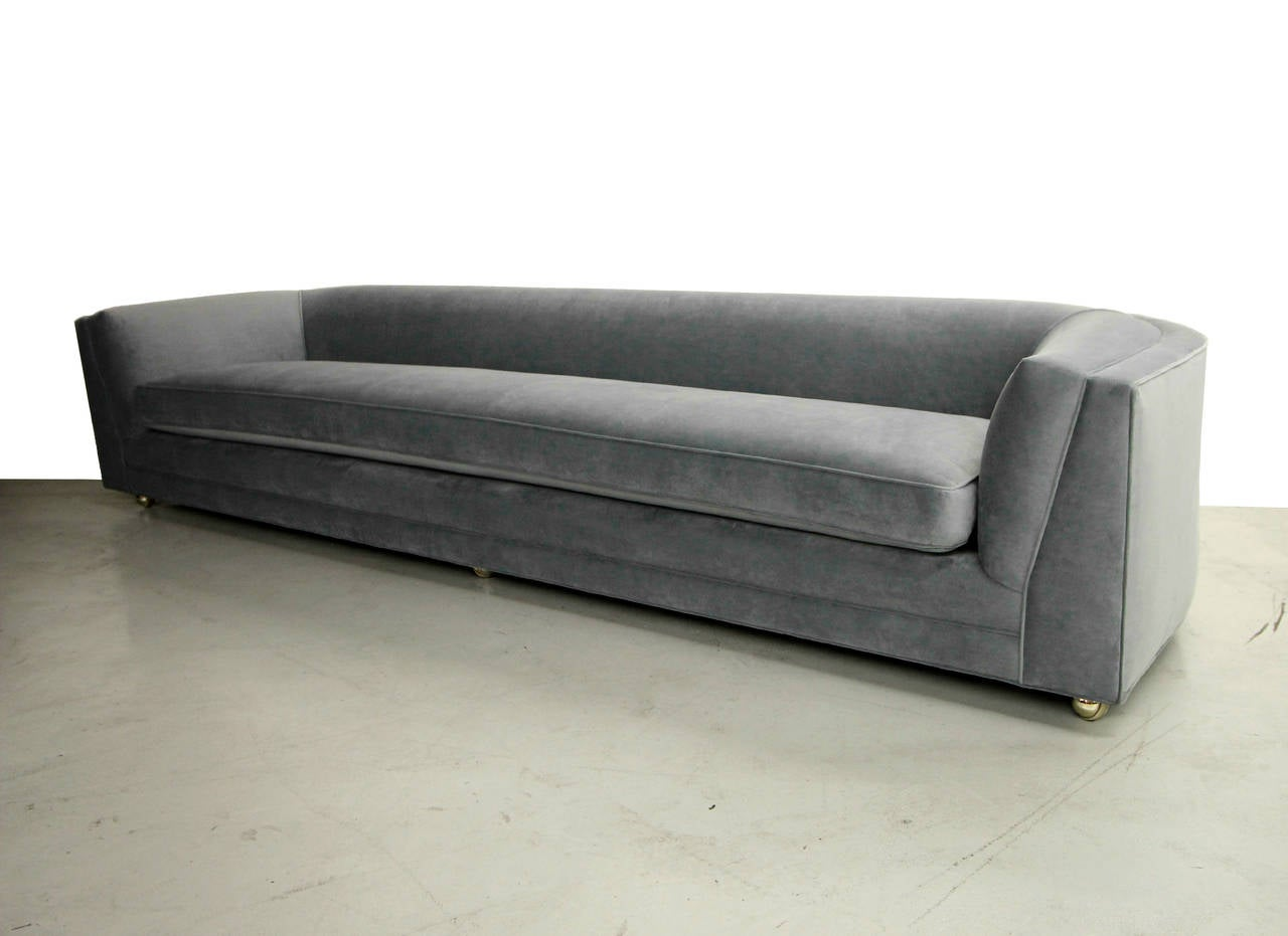 mid century 10ft long low sofa with rounded back at 1stdibs. Black Bedroom Furniture Sets. Home Design Ideas