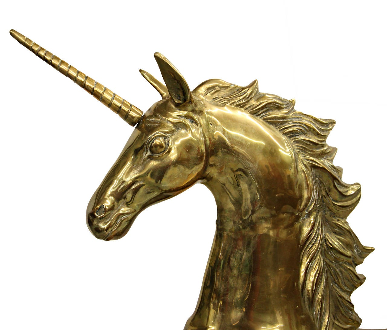 Solid brass mythical unicorn pegasus horse floor statue at