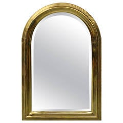 Vintage Art Deco Style Arched Brass Mirror by LaBarge