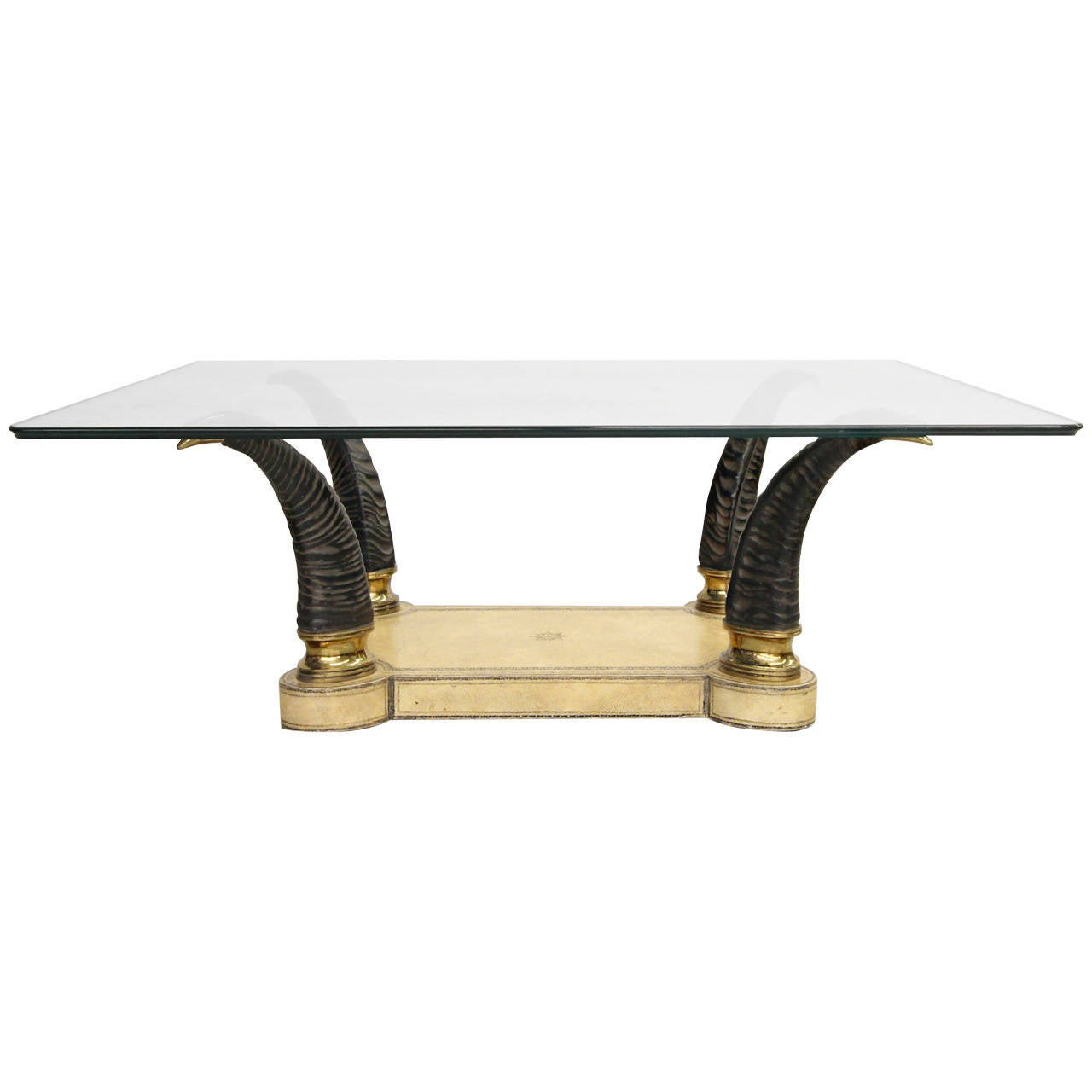 faux horn brass and leather coffee table at 1stdibs. Black Bedroom Furniture Sets. Home Design Ideas