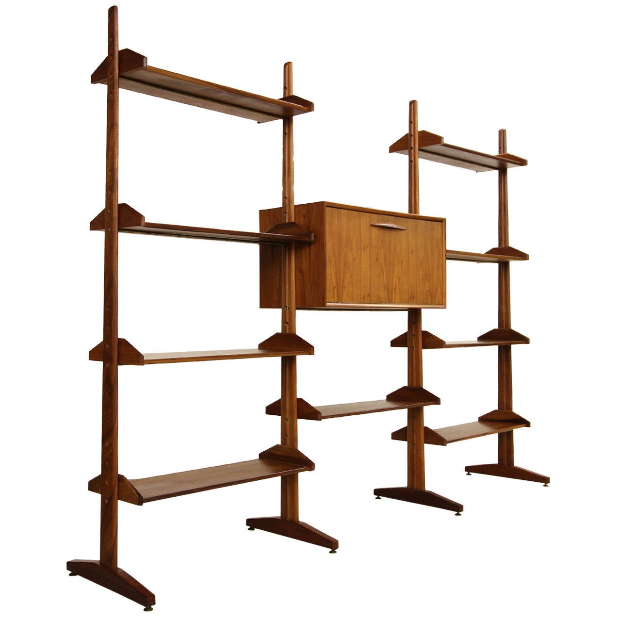 Solid Walnut And Brass Room Divider Shelving Wall Unit 1