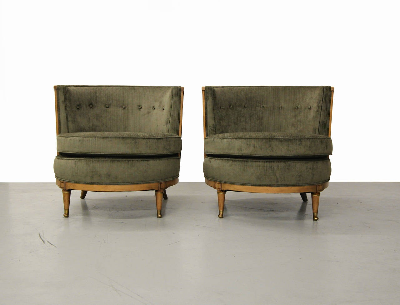 Pair of Barrel Back Occasional Club Chairs by Mastercraft
