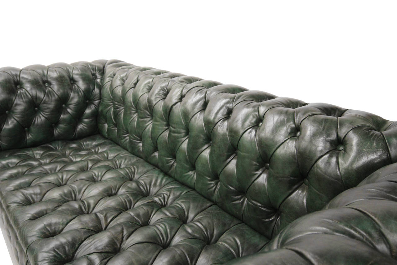 Marvelous Vintage Green Leather Chesterfield Sofa At 1Stdibs Gmtry Best Dining Table And Chair Ideas Images Gmtryco