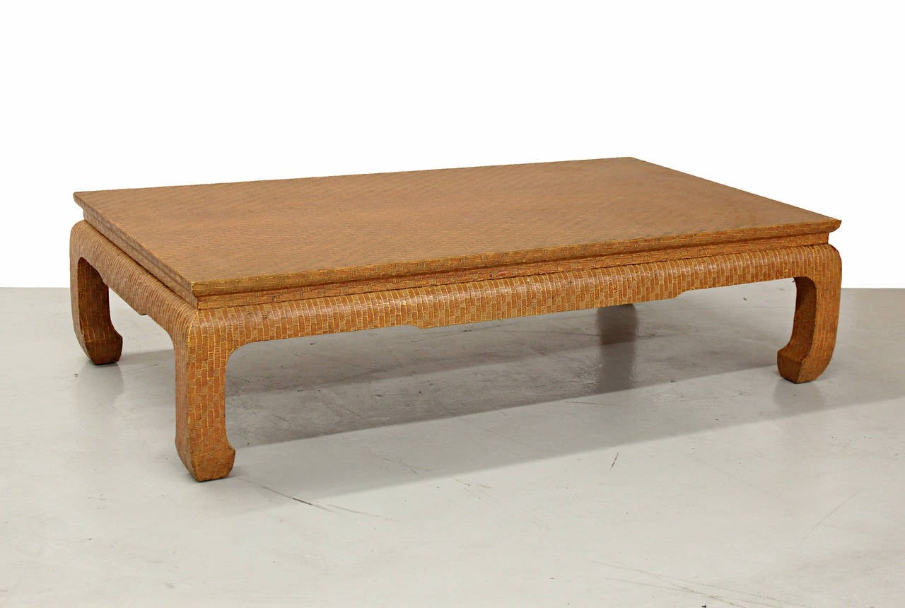 Chinoiserie Style Grasscloth Coffee Table By Baker Furniture At 1stdibs
