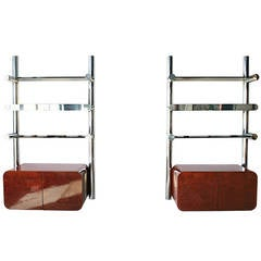 Burl and Chrome Orba Wall Unit by Janet Schwietzer for Pace Collection