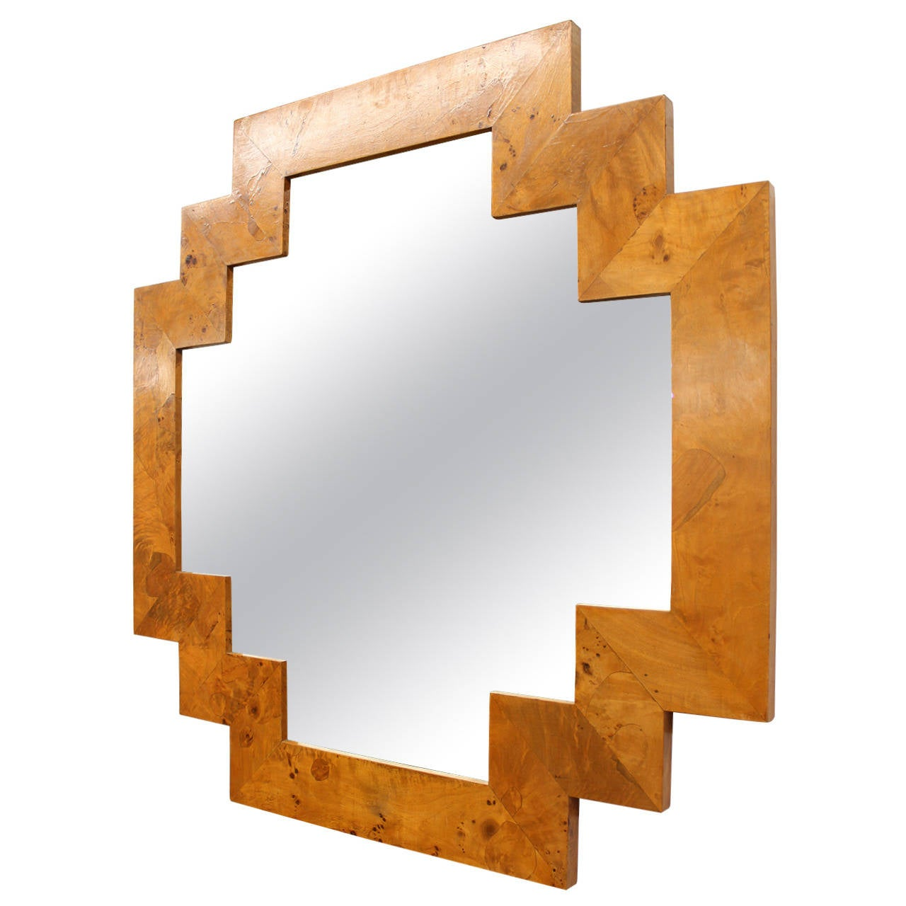 Geometric Wall Mirror art deco style geometric italian burl wood wall mirror at 1stdibs
