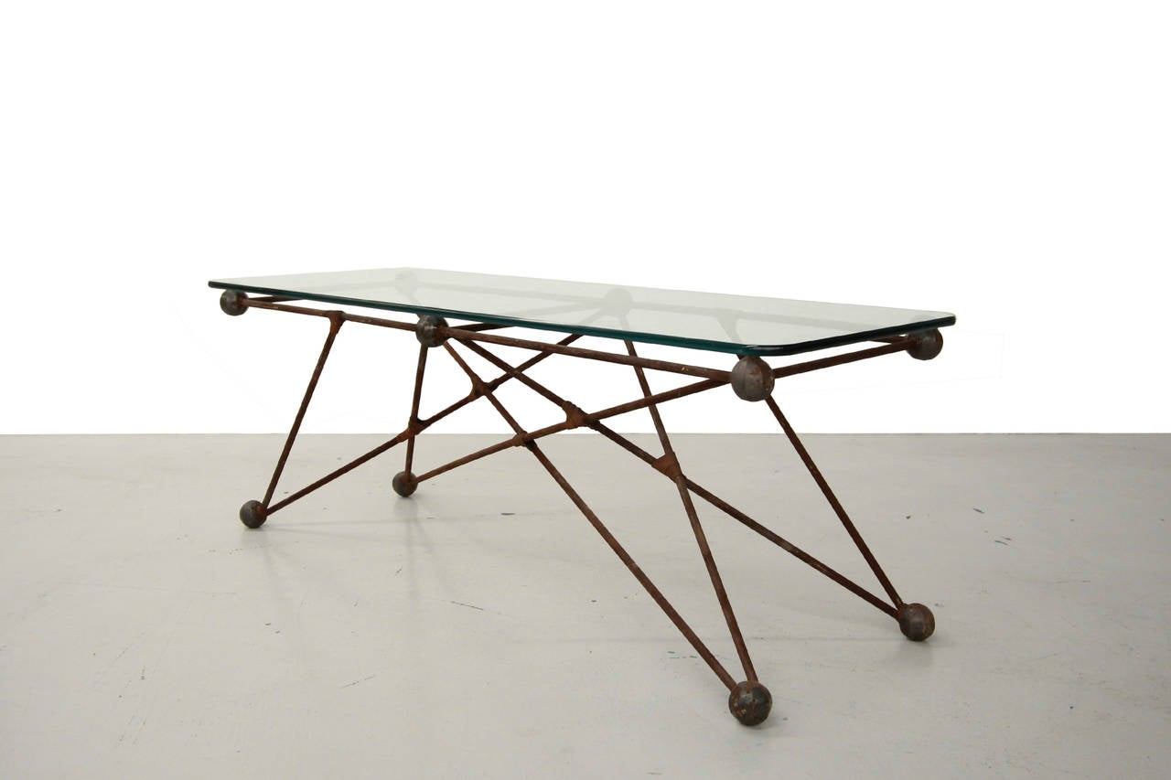 Custom iron cats cradle industrial coffee table or bench for Coffee tables industrial