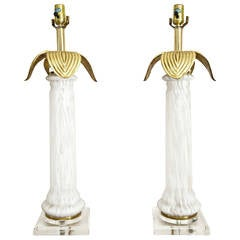 Pair of Regency Style Italian Murano Glass Table Lamps with Brass and Lucite
