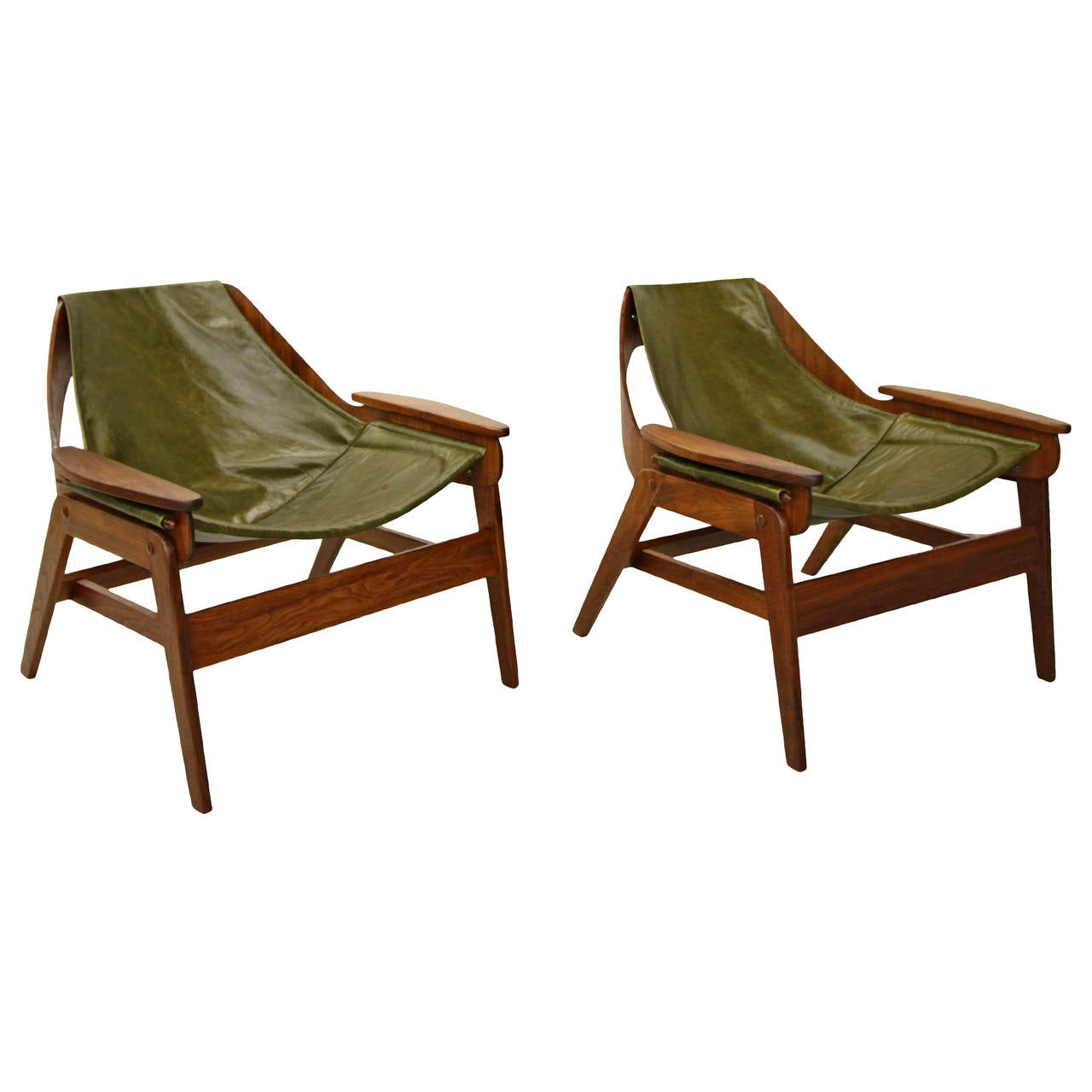 Leather sling chair - Pair Of Midcentury Walnut And Leather Sling Chairs By Jerry Johnson 1