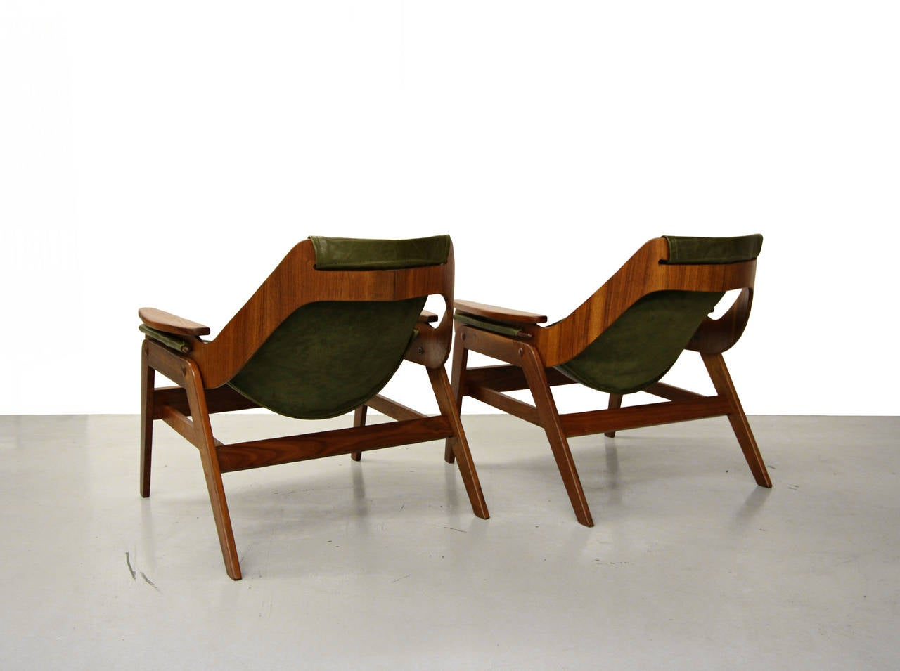 Pair Of Midcentury Walnut And Leather Sling Chairs By
