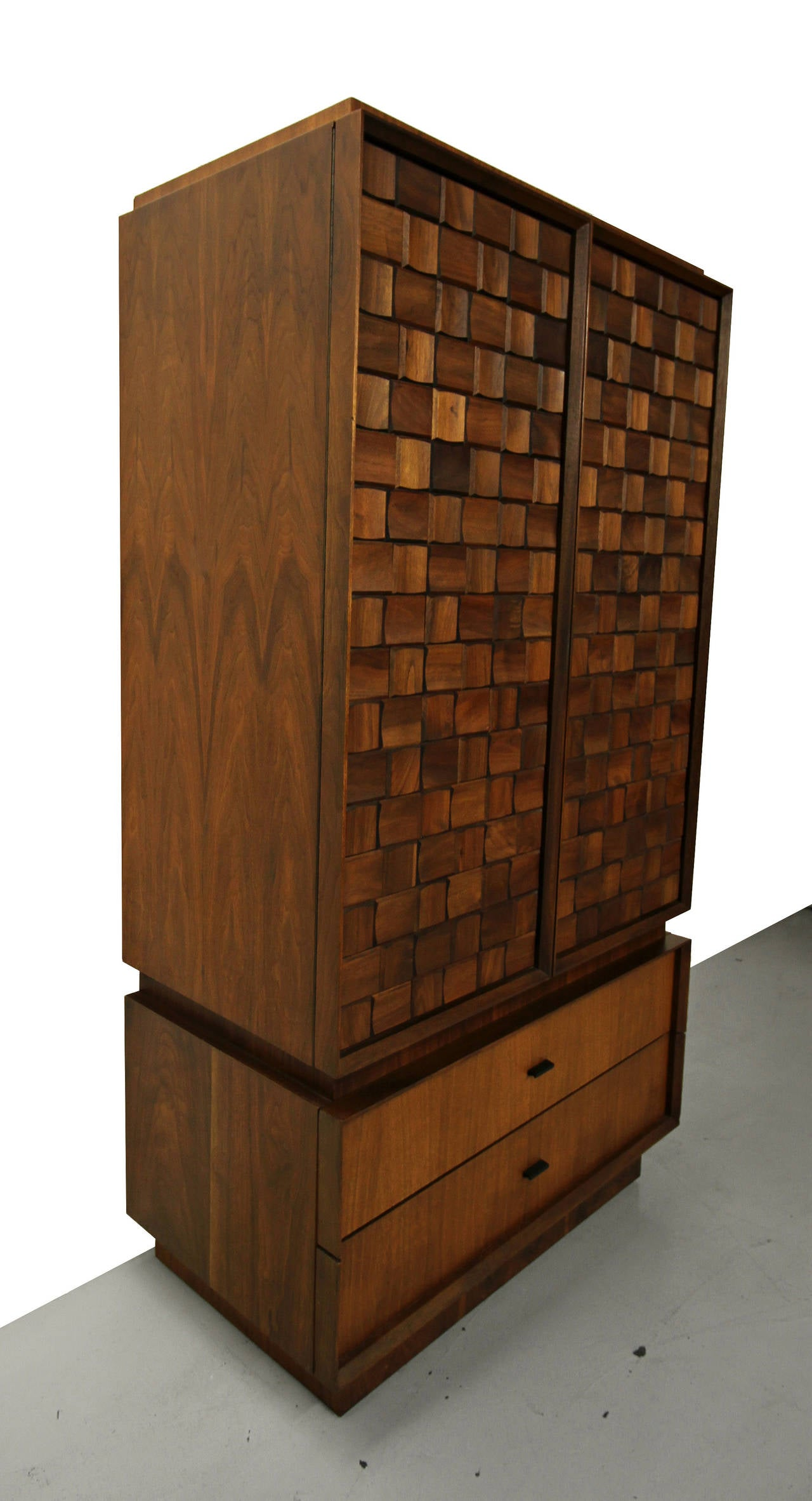 Midcentury Canadian Two Piece Brutalist Style Armoire