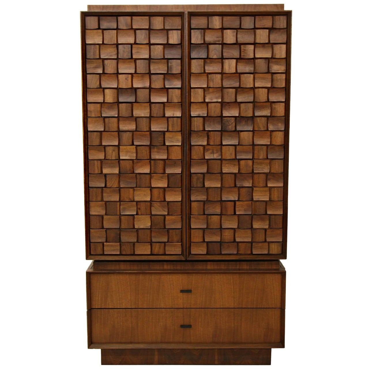 Midcentury Canadian Two Piece Brutalist Style Armoire, Dresser Or Chest For  Sale