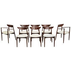 Set of Eight Rosewood Danish Dining Chairs by Harry Ostergaard for A/S Randers