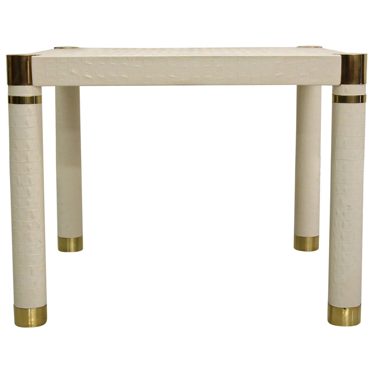Crocodile embossed leather small square dining card table for Small square dining table