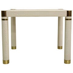 Crocodile Embossed Leather Small Square Dining Card Table by Karl Springer