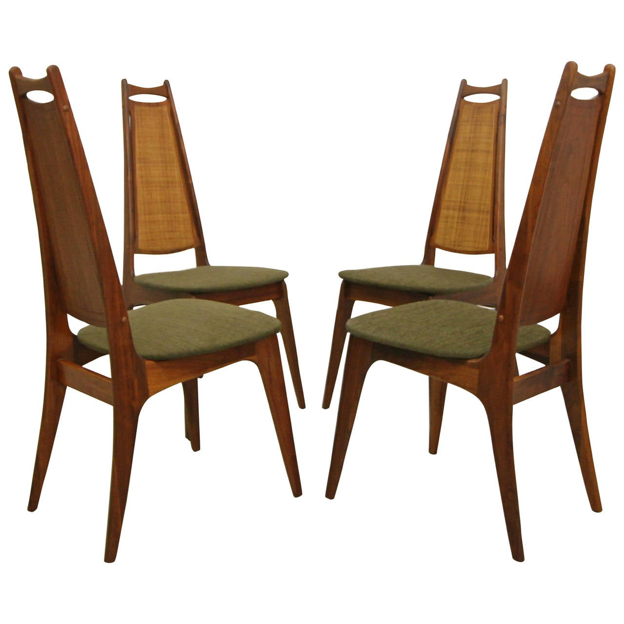 set of four walnut and cane dining chairs attributed to adrian  - set of four walnut and cane dining chairs attributed to adrian pearsall