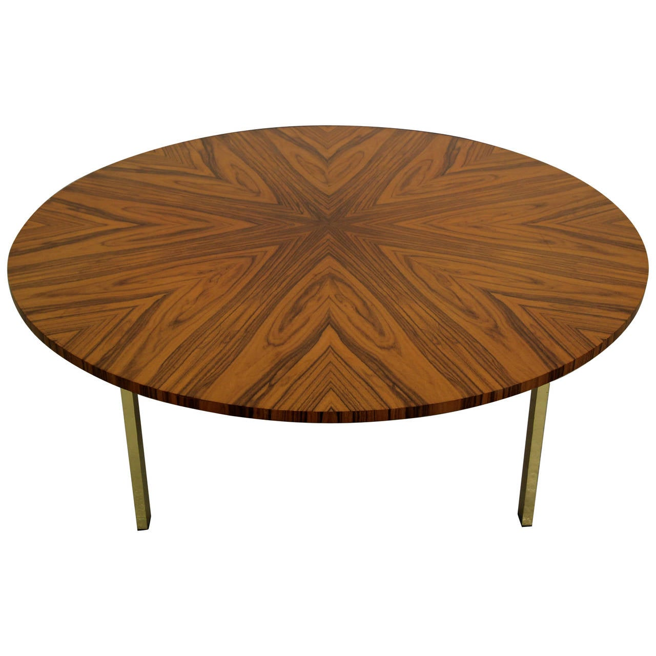 Large round coffee table with brass base at 1stdibs Round coffee tables