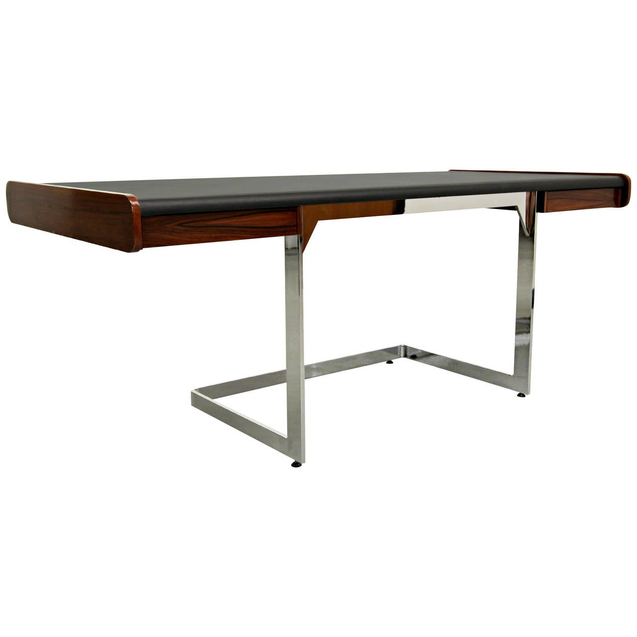 Midcentury Rosewood and Chrome Cantilever Desk by Ste-Marie & Laurent For  Sale