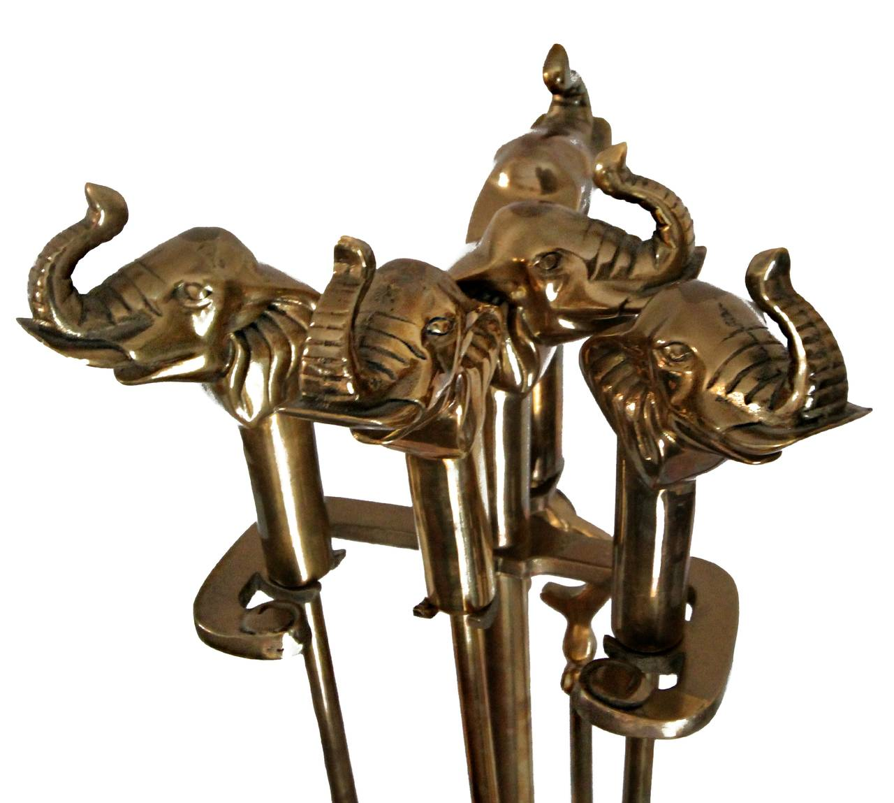 vintage set of solid brass elephant fireplace tools at 1stdibs