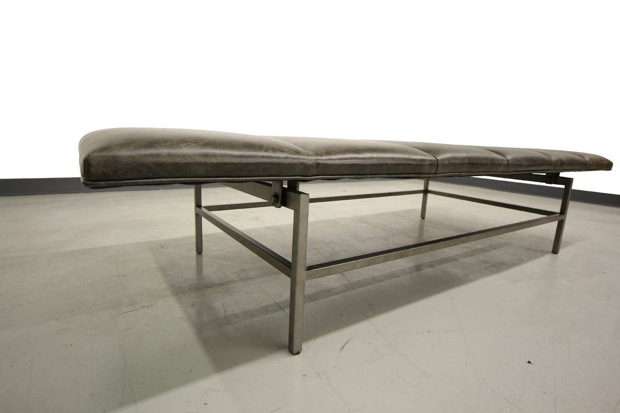 Channeled Leather And Stainless Steel Bench At 1stdibs