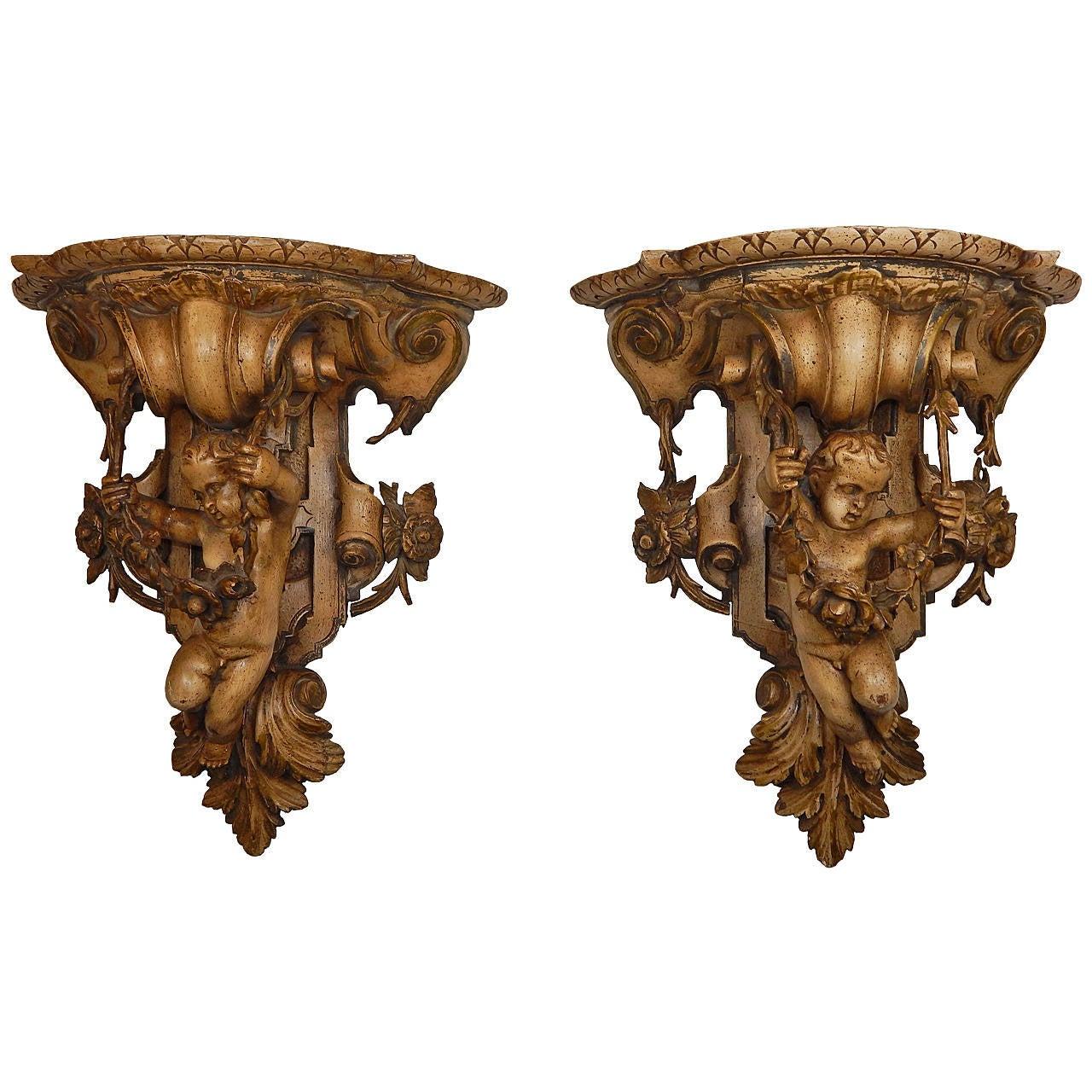 Pair of 19th Century Carved Wood Cherub Wall Brackets
