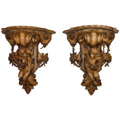 Pair of 19th Century Carved Wood Cherub Wall Brackets