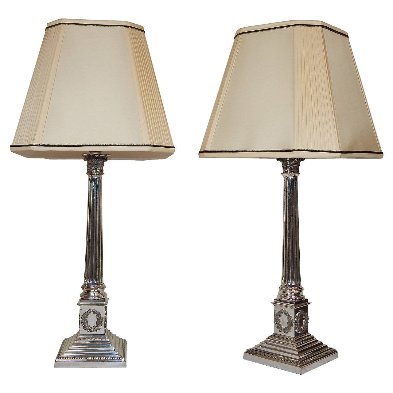 Pair Of Fine Sheffield Silver Plate Lamps With Silk Shades