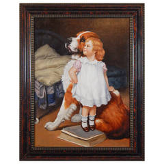 Oil Painting of a Little Girl with St. Bernard by Anton Karssen